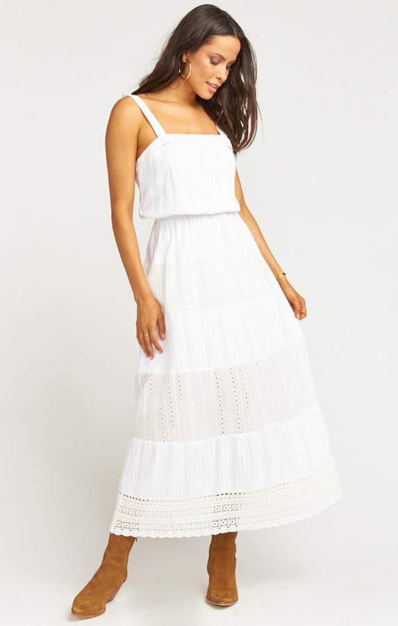 Laurie Maxi Dress ~ White Copa Jacquard Stripe