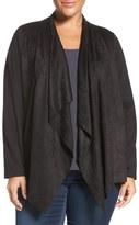 Foxcroft Faux Suede Front Open Cardigan (Plus Size)