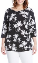 Karen Kane Plus Size Women's Side Shirred Print Top