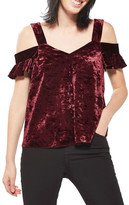 Topshop Polly Bardot Velvet Top (Regular & Petite)