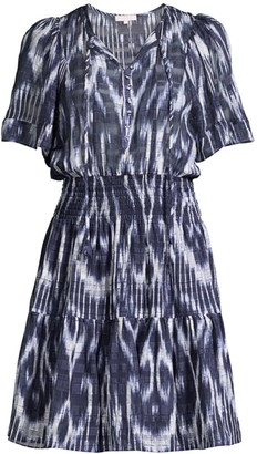 Rebecca Taylor Ikat Short-Sleeve Silk Smocked Dress