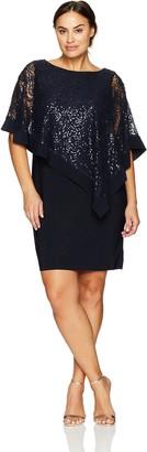R & M Richards R&M Richards Women's Plus Size Short Laced Poncho Dress Large