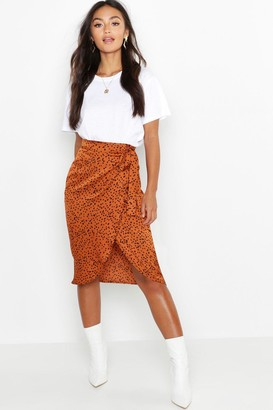 boohoo Petite Printed Satin Wrap Skirt
