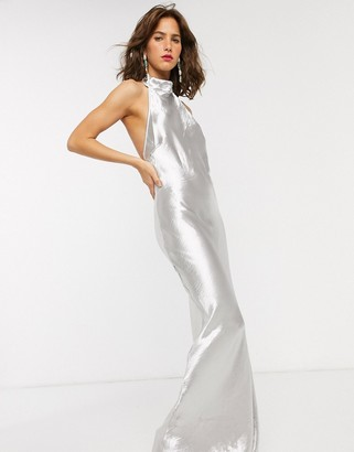 Pretty Lavish maxi halter neck dress in liquid satin