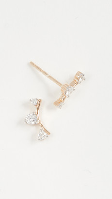 Adina Reyter 14k Gold Three Diamond Amigos Curve Post Earrings