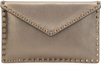 Valentino Rockstud Large Metallic Envelope Clutch Bag