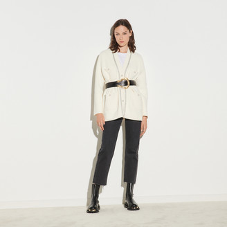 Sandro Long cardigan with bead buttons