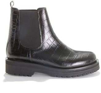 Jonak Aiparla Mock Croc Ankle Boots in Leather