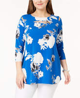 Alfani Plus Size Floral-Print Cutout Tunic, Create for Macy's