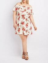 Charlotte Russe Plus Size Floral Off-The-Shoulder Ruffle Dress
