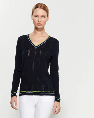 Tommy Hilfiger Long Sleeve V-Neck Pointelle Sweater