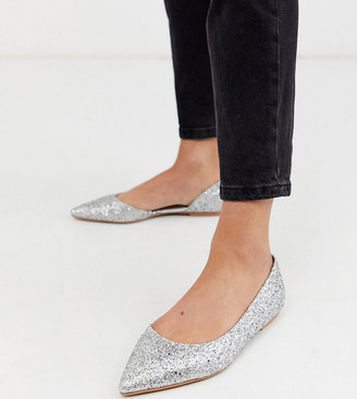 Asos Design DESIGN Wide Fit Virtue d'orsay pointed ballet flats in silver glitter