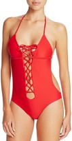 Lovers and Friends Ocean Tides Lace-Up Monokini One Piece Swimsuit