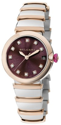 Bvlgari Stainless Steel and Rose Gold Lvcea Diamond Watch 33mm