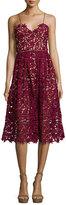 Self-Portrait Azaelea Guipure-Lace Illusion Dress, Burgundy