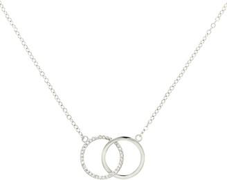 Melissa Odabash Glass Crystal Double Circle Pendant Necklace