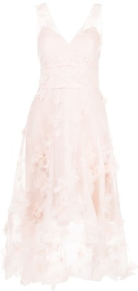 Marchesa Notte Floral Detail High Low Dress