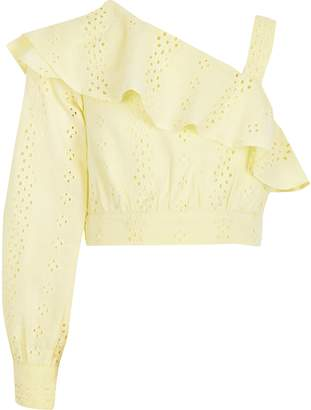 River Island Girls Yellow broderie one shoulder crop top