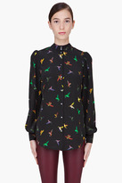 McQ by Alexander McQueen Black Silk Bird Print Blouse