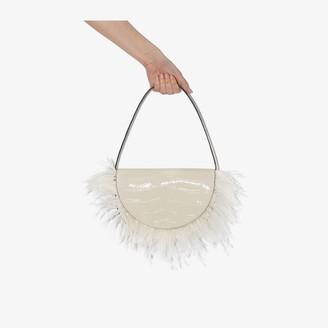 STAUD Cream Amal feather trim leather shoulder bag