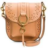 Frye Ilana Tan Perforated Leather Saddle Bag