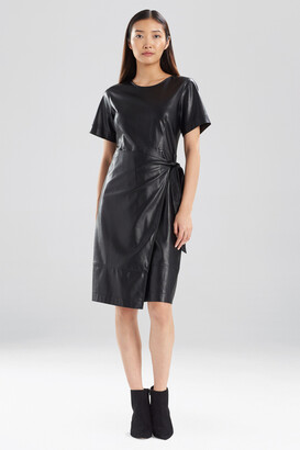Natori Faux Leather Apron Dress