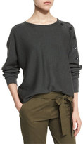 Tibi Button-Trim Wool Pullover Sweater, Loden Green/Gray