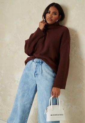 Missguided Burgundy Knit Roll Neck Jumper
