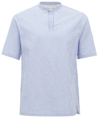 Officine Generale Tomi Band-collar Striped Cotton-seersucker Shirt - Blue White
