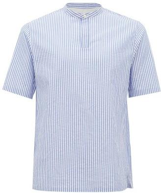 Officine Generale Tomi Band-collar Striped Cotton-seersucker Shirt - Mens - Blue White