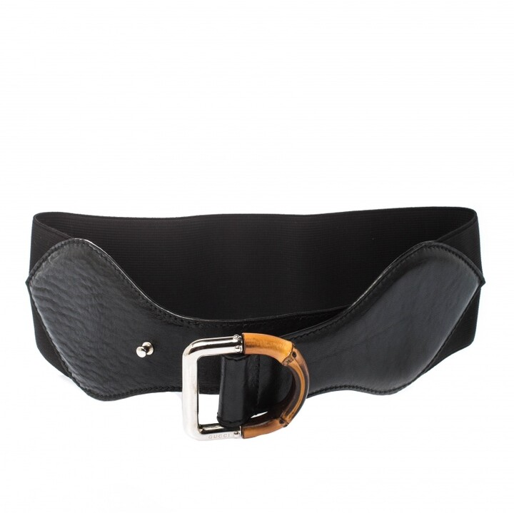 Gucci Black Leather and Elastic Fabric Band Bamboo Buckle Waist Belt 65CM
