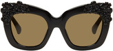 Erdem Black Linda Farrow Edition Cat-eye Flower Sunglasses