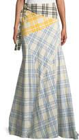 Rosie Assoulin Mixed-Plaid Maxi Wrap Skirt