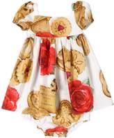 Dolce & Gabbana Roses & Cookies Cotton Poplin Dress