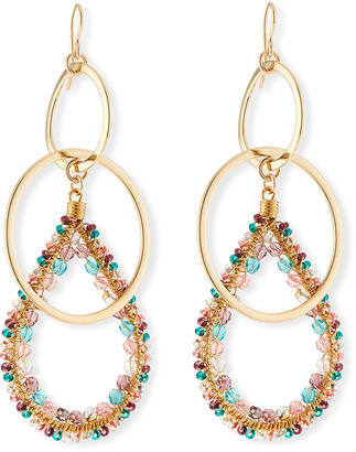 Devon Leigh Double-Link Teardrop Earrings w/ Beads, Pastel