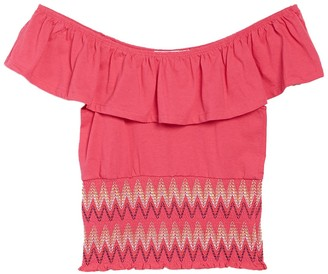 Planet Gold Off the Shoulder Ruffle Popover Top