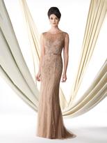 Ivonne D for Mon Cheri Ivonne D - Illusion Floral Motif Gown 114D37