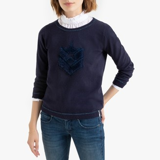 Freeman T. Porter Fine Knit Metallic Trim Jumper with Fluffy Faux Fur Logo