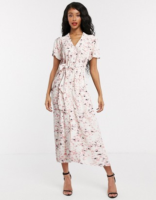 Selected midi dress with tie waist in confetti print