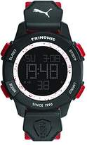 Puma Trinomic Men's Quartz Watch with LCD Dial Digital Display and Red Nylon Strap PU911271005