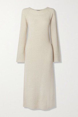Theory Ribbed Wool And Cashmere-blend Midi Dress - Ecru