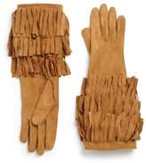 Burberry Maureen Suede Fringed Long Gloves