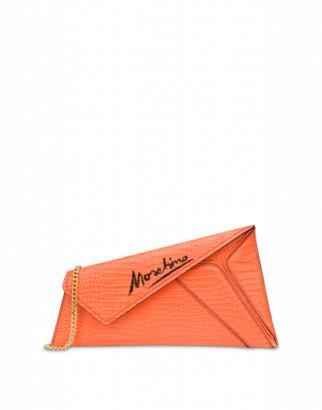 Moschino Slice Cocco Maxi Clutch Woman Orange Size U It - (one Size Us)