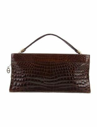 Christian Dior Vintage Crocodile Handle Bag Brown