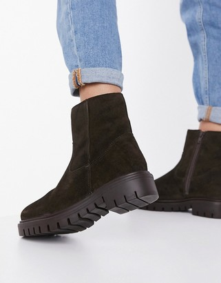 Rule London suede faux fur lined flat boots in brown