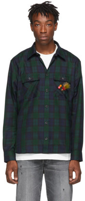 Golden Goose Black and Green Check Eiji Shirt
