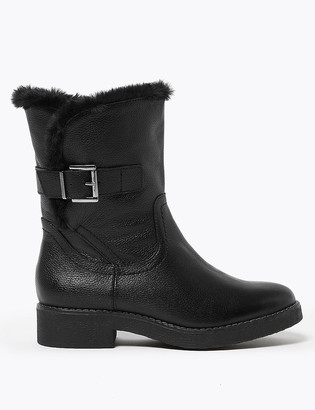 Marks and Spencer Wide Fit Leather Faux Fur Trim Ankle Boots