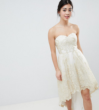 Bardot Chi Chi London Petite Premium Lace Prom Dress with Extreme High Low Hem-Cream