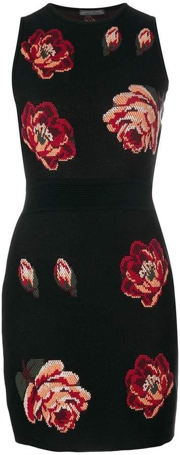 Alexander McQueen Rose Tapestry Mini Knit dress
