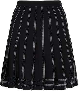 Off-White Off White Contrast-Stitch Pleated Mini Skirt